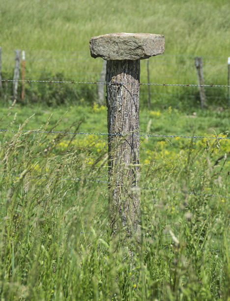 Fencepost with a large rockk on top of it