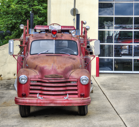 53 Chevy fire truck converted to mobile BBQ pit