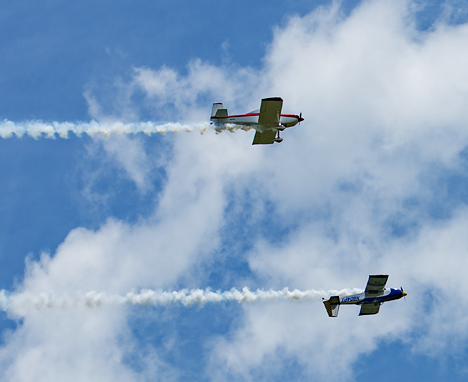 Two Bull Dog pilots flying over under