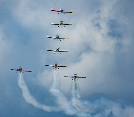 Bull Dog airplane team in formation