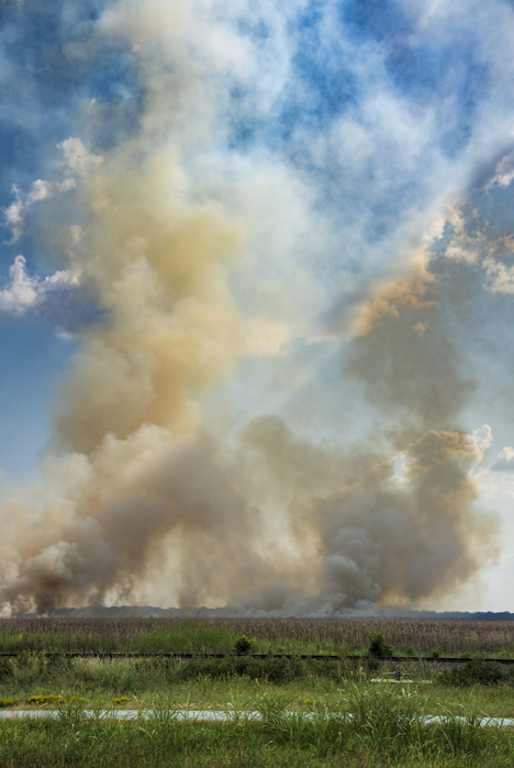Farm field fire