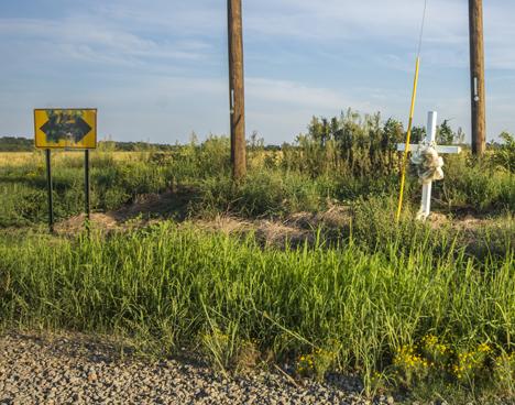 Memorial at road junction